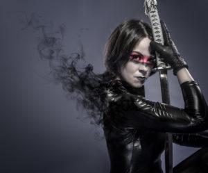 Ingrid Brunette with katana sword, fineart concept